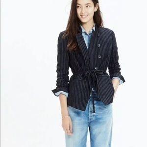 Madewell Pinstripe Tie Front Cadet Blazer Jacket
